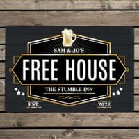 Personalised Free House Red Metal Sign